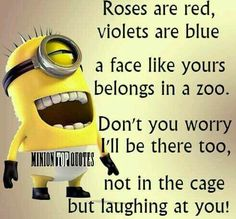 Birthday Quotes : 35 Funny Minion Wallpaper and Sayings. - The Love Quotes Funny Minion Pictures, Funny Minion Memes, Minions Quotes, Funny Texts, Funny Jokes, Funny Sayings, Minions Minions, Minions Images, Funny Quotes About Love