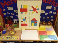 Interactive maths display - shapes and sorting Maths Eyfs, Eyfs Classroom, Preschool Math, Kindergarten Math, Classroom Ideas, 2d Shapes Activities, Numeracy Activities, Teaching Shapes, Maths Resources
