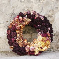 Dried roses wreath, Dried roses, Dried flowers, Autumn decoration, Rustic…