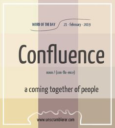 Todays is: Confluence Synonyms This word describes the coming together of all things. Interesting English Words, Unusual Words, Rare Words, English Idioms, English Phrases, Learn English Words, Fancy Words, Words To Use, New Words