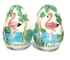 Ceramic Vintage Florida Flamingo Salt and Pepper Shakers Sun Glo Japan