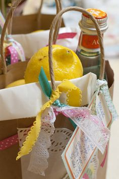 Lemons, sugar, and sparkling water.  Easy and fun hostess gift!