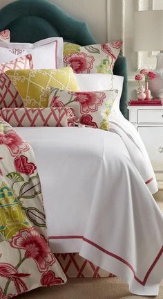 Shop Twin Garden Gate Floral Duvet Cover from Legacy at Horchow, where you'll find new lower shipping on hundreds of home furnishings and gifts. Green Pillows, Floral Pillows, Green Bedding, Decorative Pillows, Floral Bedding, Pink Bedding, Toss Pillows, Floral Fabric, Accent Pillows