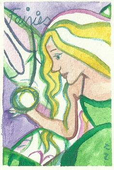 F is for Fairy - Miniature Art - Orginal ACEO Painting - Fantasy Art - by Niina Niskanen