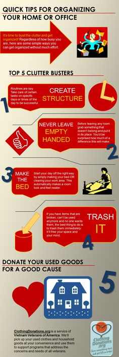 Top 5 clutter busters - tips for organizing the home or office