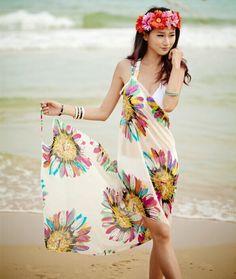 EL ENVÍO LIBRE 2015 Nuevas Mujeres del verano saia vestidos sexy Profunda V Wrap…