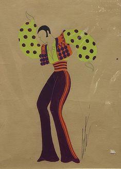 """Artist: Romain (Erté) De Tirtoff (French, 1892-1990); Description: """"Image"""" 1 of a set of 7. Various Costume Design Illustrations; Medium: Gouaches."""