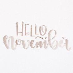 Hello November - hand lettering - watercolor - 1/30 #thxgivinglettering #hellonovember 🍂🍁🌾#leftyscriptbrushes