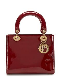 Christian Dior Burgundy Patent Leather Medium Lady Dior Bag by Dior at Gilt