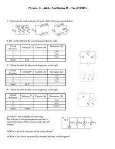 Circuits Worksheet Answer Key Parallel Circuits | Solving ...