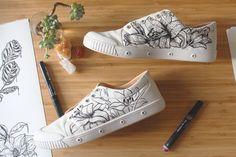 #costumised #white #sneakers by #muziarts #handmade #illustration #drawing of #lillies Materials used: #ironlakpumpaction #acrylic #pen