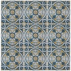 "EliteTile Royalty Canarsie 17.75"" x 17.75"" Ceramic Field Tile in Multi"