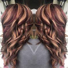 Blonde maroon brown hair