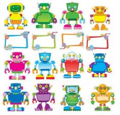 """Gear up your classroom with this robot bulletin board set. x 11 blank speech bubbles """"Reading Robots,"""" """"Geared Up for Good Work,"""" and """"Geared Up for Math"""" speech bubbles Robot Classroom, Classroom Supplies, Classroom Crafts, Classroom Themes, Classroom Activities, Robot Bulletin Boards, Maker Fun Factory Vbs, Robot Theme, Robots For Kids"""