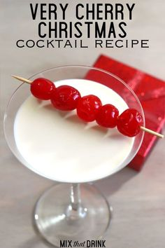 The Very Cherry Christmas drink recipe tastes quite a bit like a chocolate covered cherry. It blends cherry vodka with the flavors of chocolate and Irish cream to create a flavor that's rich, sweet and easy on the palate. This is a great one for Christmas parties. Drinks Alcohol, Alcoholic Drinks, Cherry Vodka Drinks, Fun Drinks, Cocktail Drinks, Cocktail Recipes, Yummy Drinks, Party Drinks, Drink Recipes