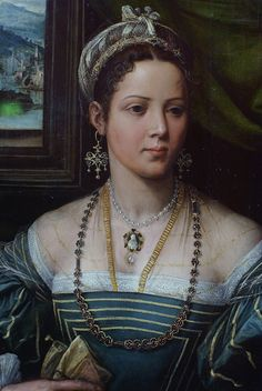 Portrait of a Lady. (detail) Pieter de Kempeneer (ca. 1527-37)