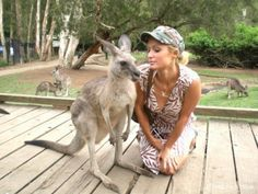Paris Hilton posted this photo on her FB. No one mentioned the kangaroo's in the background.