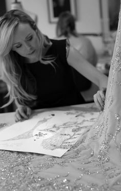 Fashion Design Studio - the making of an elegant embellished couture dress; fashion atelier // Ralph & Russo