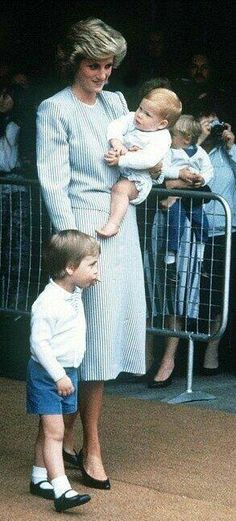 August Prince Charles, Princess Diana, Prince William, Prince Harry and Princess Margaret preparing to board The Royal Yacht Britannia in Southampton for the Western Isles, Scotland.