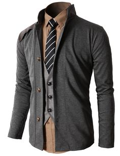 Doublju Men's Vintage Slim Fit Fashion Jacket Cardigan (KMOCAL057) #doublju