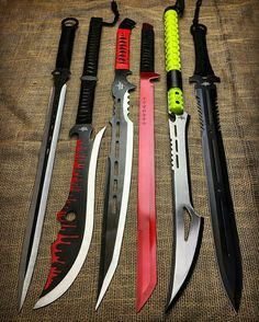Which one is ur favourite? Mines is and 6 (left to right) Zombie Weapons, Ninja Weapons, Anime Weapons, Fantasy Weapons, Weapons Guns, Pretty Knives, Cool Knives, Swords And Daggers, Knives And Swords