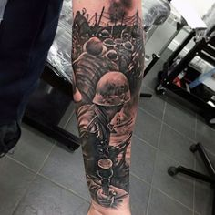 Military Soliders In Battle Inner Forearm Male Tattoos Shoulder Armor Tattoo, Arm Sleeve Tattoos, Leg Tattoos, Skull Tattoos, Army Tattoos, Warrior Tattoos, Military Tattoos, Inner Forearm Tattoo, Cool Forearm Tattoos