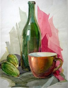 Watercolor Illustration, Watercolour Painting, Painting & Drawing, Watercolors, Pinturas Em Tom Pastel, Expressive Art, Still Life Art, Elements Of Art, Watercolor Techniques