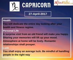 Check Your Today's Capricorn Free Daily Horoscope (27-April-2017). Read your detailed horoscope at astrovidhi.com. Sagittarius Daily Horoscope, Free Daily Horoscopes, Aquarius Daily, Leo Zodiac, Scorpio, Sailing Day, Feeling Fatigued, Meeting Someone New, Scorpion