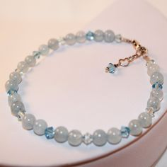 Aqua Marine Gemstone Bracelet, Light Blue Swarovski Crystal, Sterling Silver Jewelry,  Ready To Ship, Shimmer Shimmer, One of a Kind by ShimmerShimmer on Etsy
