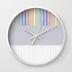 Colour Pop Stripes - Pastel Rainbow Wall Clock by laec Colour Pop, Color, Rainbow Wall, Clocks, Pastel, Stripes, Cats, Creative, Artwork