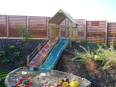 Sloped Yard, Sloped Backyard, Backyard Patio Designs, Backyard Fences, Backyard For Kids, Backyard Projects, Backyard Landscaping, Landscaping Design, Playground Design