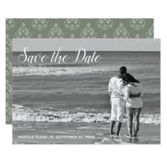 Moss Green  Damask Save the Date Card - invitations custom unique diy personalize occasions