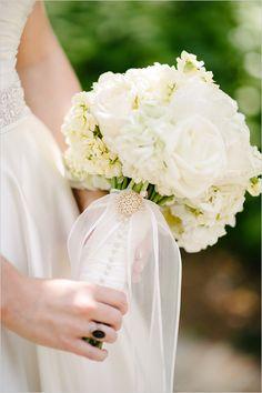 All white wedding bouquet.