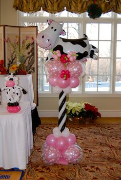 cow balloons   Lauren's Cow Themed 1st Birthday Party   Balloon Decor-Twisting ...