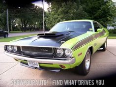 '70 Dodge Challenger T/A, Sublime Green, 4spd, Rear Window Louvers!