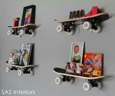 Kids Bedroom Amazing Unique Wall Mounted Shelving With Skateboards For Cool Boys Room 17 Amazing And Colorful Kids Room Shelving Ideas Interior Design - GiesenDesign Teenage Room Decor, Diy Room Decor, Boy Decor, Kids Decor, Bedroom Decor, Diy Projects Shelves, Cool Boys Room, Room Kids, Kids Rooms