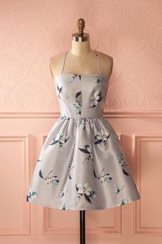 Robe de fête argentée fleurie - Silver floral print cocktail dress