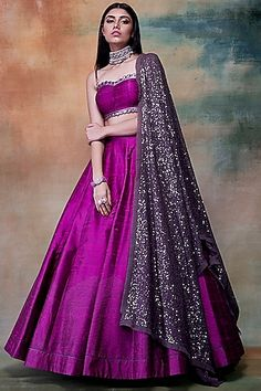 VVANI BY VANI VATS Featuring a purple lehenga skirt in raw silk and georgette base with sequins and hand embroidery. It is paired with a matching blouse and dupatta. Party Wear Indian Dresses, Designer Party Wear Dresses, Indian Bridal Outfits, Indian Gowns Dresses, Indian Fashion Dresses, Dress Indian Style, Indian Designer Outfits, Project Runway Dresses, Party Wear Lehenga