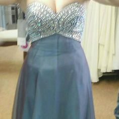 Blue steel prom dress ?? Worn for a couple hours, zipper works, all the sequence is there. Dresses
