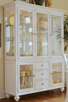 Free Shipping. A perfect complement for your dining room, this China Cabinet will display your fine china and collectibles, as well as offer you some drawer storage. The upper China Deck consists of a mirrored back with three sides of glass that is accessed by three doors. Full flexibility is achieved by all six glass shelves being adjustable. Illuminate it all with three can Buttermilks activated with touch controls. The bottom Buffet/Credenza has two glass doors on each end with one…