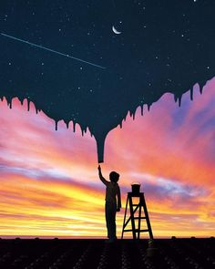 An Artist Creates Visual Illusions That Will First Deceive Your Eyes, Then Take Over Your Heart Cool Wallpaper, Wallpaper Backgrounds, Photo Portrait, Montage Photo, Surreal Art, Photomontage, Night Skies, Belle Photo, Cute Wallpapers