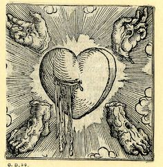 The Five Wounds of Christ. Woodcut printed by Sigmund Grimm, Augsburg, Germany, Esoteric Art, Occult Art, Medieval Art, Medieval Tattoo, Art Graphique, Memento Mori, Sacred Heart, Religious Art, Dark Art