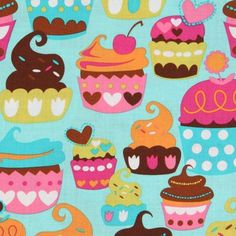 turquoise Michael Miller fabric Sweet Treats cupcakes  kawaii turquoise fabric with many colourful cupcakes from the USA