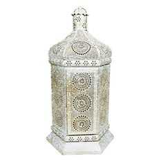 215 Distressed White and Gold Antique Style Moroccan Floral CutOut Pillar Candle Lantern >>> Check this awesome product by going to the link at the image.