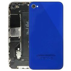 High Counterfeit Glass Back Cover with Flashlight Patch & Thermal Sink for iPhone 4,(Dark Blue)