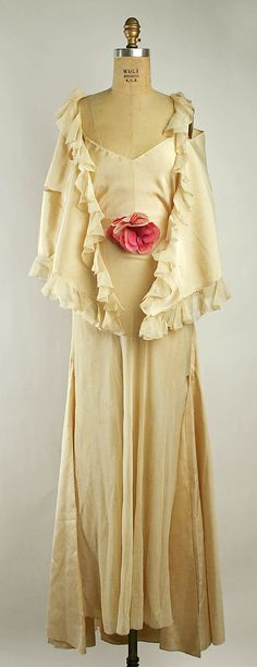 ~Evening ensemble Attributed to Mainbocher  (American, 1890–1976)  Maker: Saks Fifth Avenue (American, founded 1924) Department Store: Saks Fifth Avenue (American, founded 1924) Date: 1933 Culture: French Medium: silk~