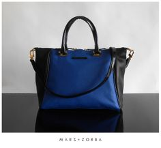 Mars+Zorba Chic Leather Goods Allegra Black+Blue satchel bag #marsandzorba #chic #leather #handbags #buenosaires #fashion marsandzorba.com