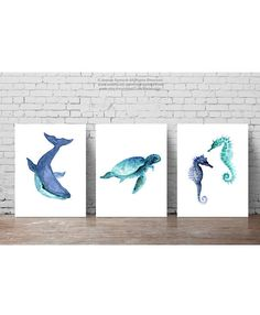 Oceanic Life Animal Art Blue Teal Watercolour Painting Sea