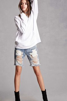 A pair of denim Bermuda shorts featuring a distressed design, frayed trim, zipper fly, and a five-pocket construction. This is an independent brand and not a Forever 21 branded item.