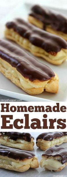 Homemade Eclairs- Easier than I thought. Filled with an easy pastry cream and topped with a yummy chocolate glaze. Homemade Eclairs- Easier than I thought. Filled with an easy pastry cream and topped with a yummy chocolate glaze. Donut Recipes, Pastry Recipes, Baking Recipes, Puff Pastry Desserts, Baking Desserts, Party Desserts, Just Desserts, Delicious Desserts, Dessert Recipes